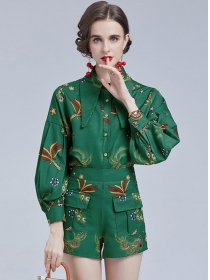 Hot Selling Doll Collar Flowers Puff Sleeve Short Suits