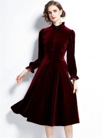Retro Europe High Waist Stand Collar Velvet A-line Dress