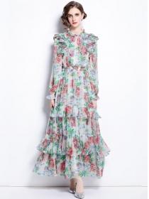 Stunning Fashion Elastic Waist Flowers Layered Chiffon Maxi Dress