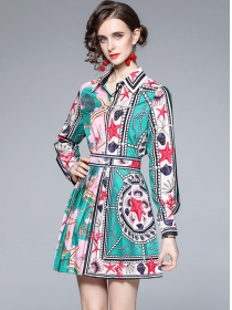 Autumn Fashion Shirt Collar Flowers Pleated Two Pieces Dress