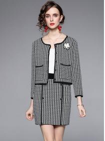 Retro Fashion Buttons Open Houndstooth Slim Knitting Dress Set