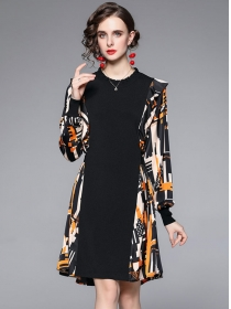 Fashion Autumn Color Block Long Sleeve Knitting Loosen Dress