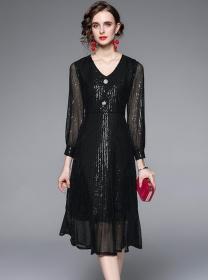 Brand Fashion 2 Colors V-neck Sequins Fishtail Slim Dress
