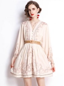 Retro Women Fashion V-neck Long Sleeve A-line Dress