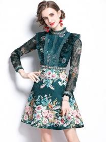 Grace Europe Lace Flowers Splicing Jacquard Fluffy A-line Dress