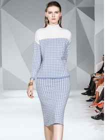 Fashion 2 Colors Stand Collar Houndstooth Knitting Dress Set