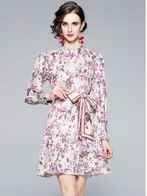 Charming Lady Tie Waist Flowers Loosen Long Sleeve Dress