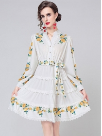 Pretty Europe V-neck Tie Waist Flowers Long Sleeve Dress