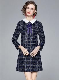 Quality Fashion Bowknot Doll Collar Tweed A-line Dress