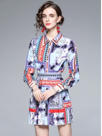 Autumn Fashion Shirt Collar Flowers Blouse with Pleated Skirt