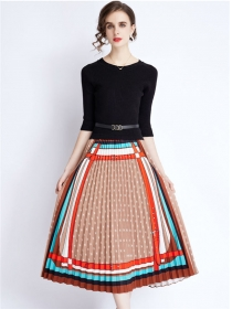 Europe Wholesale Knit Tops Splicing Pleated Flowers Dress