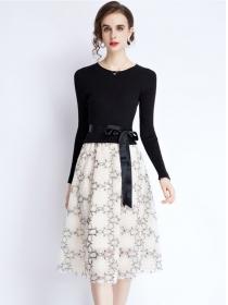 Modern Lady Knitting Tops Tie Waist Flowers Gauze A-line Dress