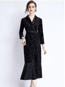 Retro Women Fashion Tie Waist Flowers Fishtail Long Dress
