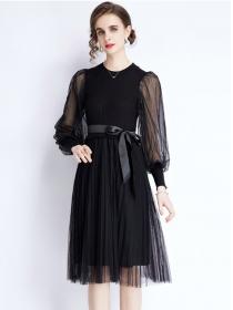 Europe Wholesale Gauze Puff Sleeve Knitting Fluffy Dress