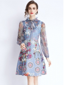 Europe Charming Stand Collar Flowers Long Sleeve A-line Dress