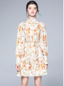 Charming Lady Stand Collar Flowers Puff Sleeve Loosen Dress