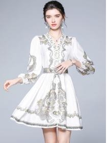 Fashion Women V-neck Belt Waist Flowers Puff Sleeve Dress
