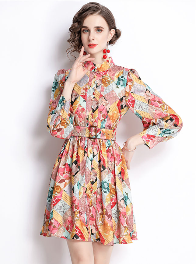 Autumn Fashion Belt Waist Flowers Puff Sleeve Women Dress