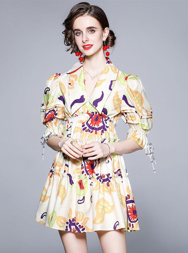 Lovely Europe Doll Collar Elastic Waist Puff Sleeve Dress