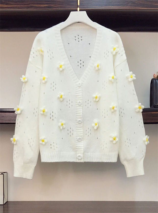 Hot Selling Hollow Out Flowers Plus Size Sweater Coat