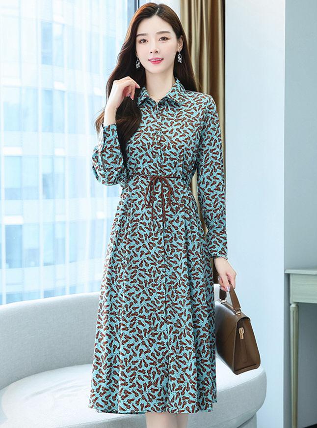 Korea Women Fashion Tie Waist Flowers Shirt A-line Dress