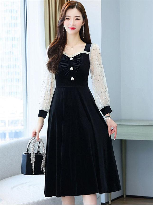 Wholesale Autumn High Waist Velvet Dots Sleeve A-line Dress