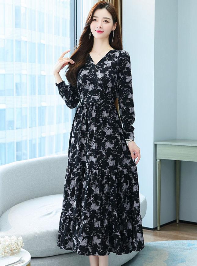 Pretty Women Elastic Waist Flowers Chiffon Long Dress