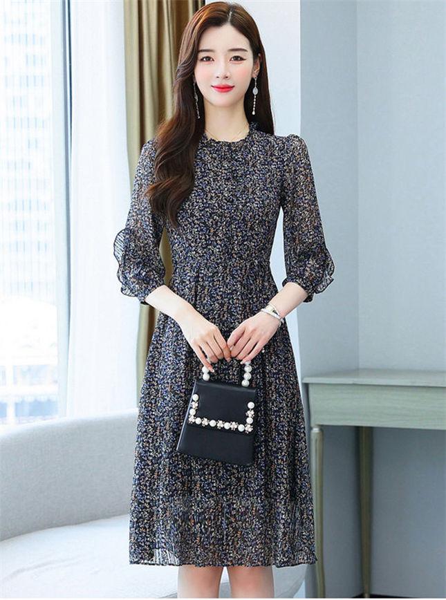 Wholesale Korea High Waist Flowers Puff Sleeve A-line Dress
