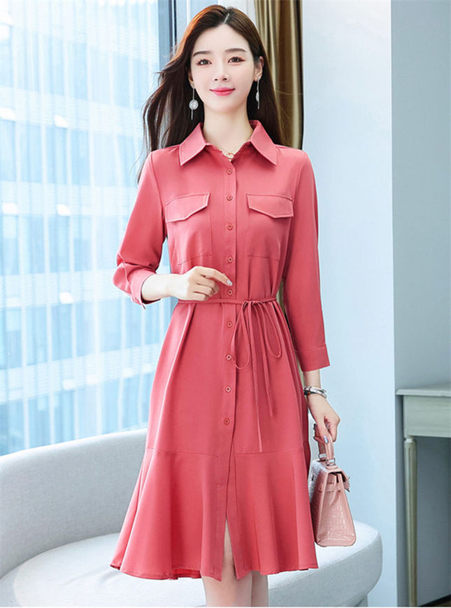 Wholesale Fashion 2 Colors Single-breasted Fishtail Shirt Dress