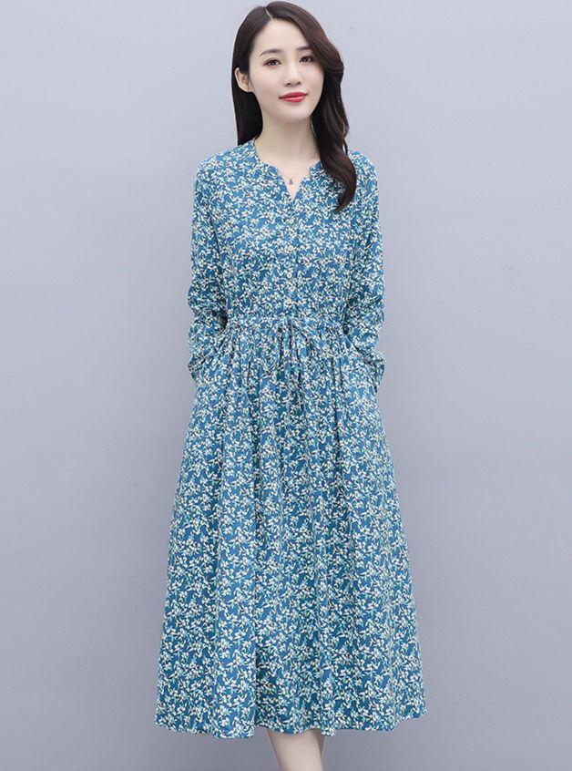 Wholesale Autumn 2 Colors Tie Waist Flowers A-line Long Dress
