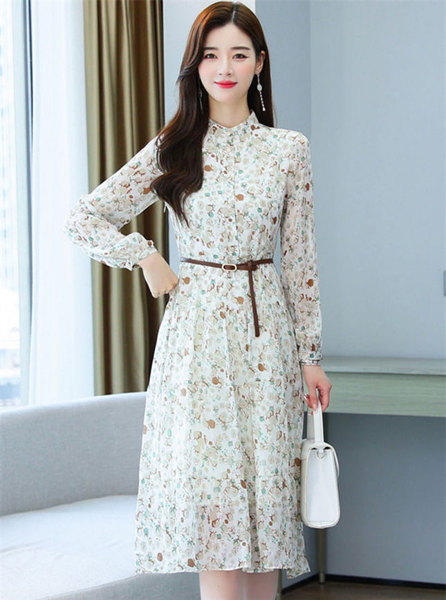 Pretty Women 2 Colors Belt Waist Flowers Chiffon A-line Dress