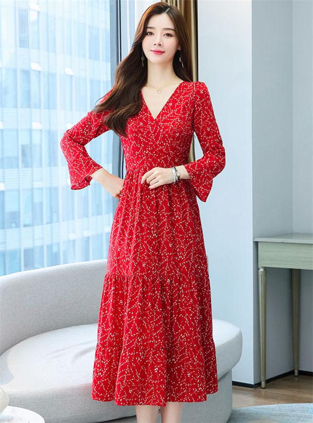 Modern Lady Elastic Waist Flare Sleeve Flowers Long Dress