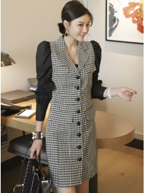 Retro Fashion Single-breasted Tailored Collar Houndstooth Dress