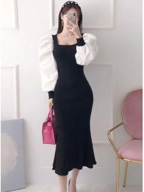 Grace Women Square Collar Puff Sleeve Fishtail Slim Dress