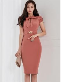 Korea Fashion 2 Colors Tie Bowknot Collar Slim Dress