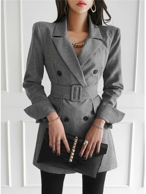 Quality Fashion Double-breasted Tailored Collar Coat Dress