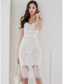 Charm Sexy V-neck High Waist Flowers Lace Straps Dress