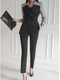 Modern Lady Plaids Tailored Collar Jacket with Long Pants