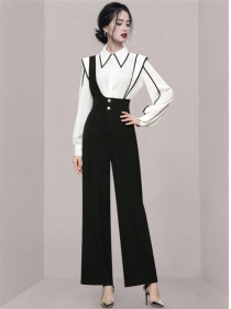 Modern Lady Doll Collar Blouse with High Waist Straps Jumpsuits