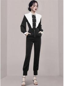 Retro Korea Color Block Doll Collar Slim Long Suits