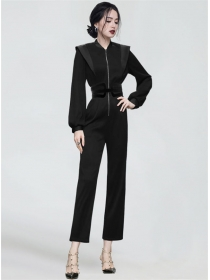 Handsome Lady Zipper V-neck High Waist Two Pieces Long Suits