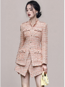 Winter Fashion Single-breasted Tweed Thick Short Suits