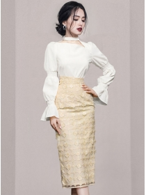 Grace Women Puff Sleeve Blouse with Sequins Flowers Slim Skirt