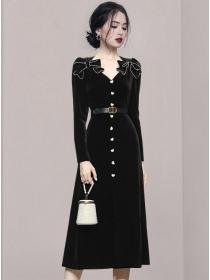 Autumn New Bowknots V-neck Velvet Long Sleeve Dress