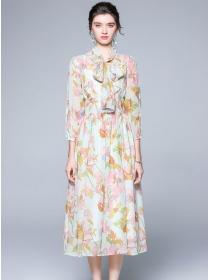 Charming Europe 2 Colors Tie Collar Flowers Chiffon Dress