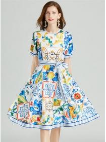 Europe Stylish Tie Waist Round Neck Flowers A-line Dress
