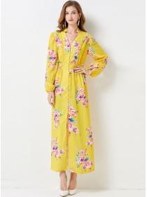 Stunning Fashion Single-breasted V-neck Flowers Maxi Dress