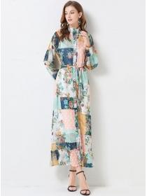 Europe Wholesale Tie Waist Flowers Loosen Maxi Dress