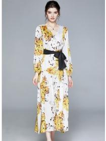 Autumn New Tie Waist V-neck Flowers Puff Sleeve Maxi Dress
