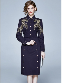 Brand Fashion Doll Collar Gilding Embroidery Slim Dress
